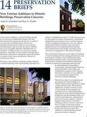New Exterior Additions to Historic Buildings: Preservation Concerns : Preservation Concerns