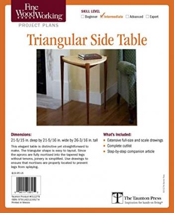 Fine woodworking 39 s triangular side table plan raymond for Triangle end table plans