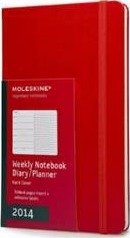 2014 Moleskine Red Large Weekly Notebook 12 Month Hard